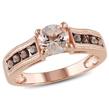 Trang sức Amour Pink Silver 1 1/4 CT TGW Smokey Quartz Morganite Nhẫn thời trang chính hãng sale giá rẻ Hà nội TPHCM
