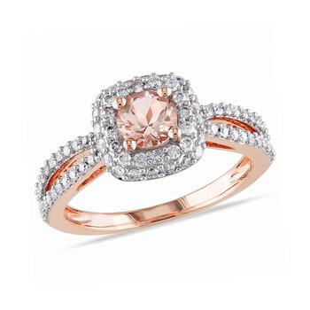 Trang sức Amour 1/2 CT Kim cương TW và 1/2 CT TGW Morganite Nhẫn thời trang Vàng hồng 14K GH I1;I2 chính hãng sale giảm giá sỉ rẻ nhất ở Hà nội TPHCM