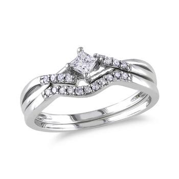 Trang sức Amour 1/5 CT Princess và Round Kim cương TW Bridal Set Nhẫn Silver GH I2;I3 chính hãng sale giá rẻ Hà nội TPHCM