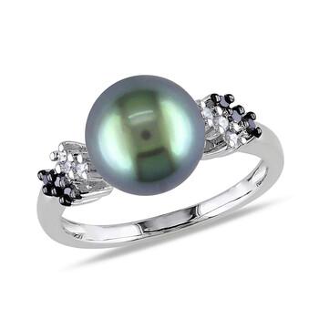 Trang sức Amour 1/8 CT Đen và Kim cương trắng TW 9 - 9.5 MM Đen Tahitian Pearl Nhẫn thời trang Vàng trắng 10K GH I2;I3 chính hãng sale giá rẻ Hà nội TPHCM