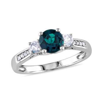 Trang sức Amour 0.05 CT Kim cương TW và 1 1/8 CT TGW Created Emerald Created White Sapphire 3 Stone Nhẫn Vàng trắng 10K GH I2;I3 chính hãng sale giá rẻ Hà nội TPHCM