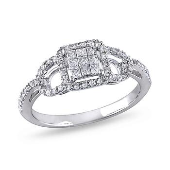 Trang sức Amour 3/8 CT Princess và Round Kim cương TW Nhẫn thời trang Vàng trắng 10K GH I2;I3 chính hãng sale giá rẻ Hà nội TPHCM