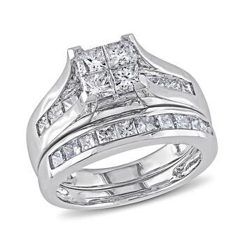 Trang sức Amour 2 CT Princess Kim cương TW Bridal Set Nhẫn Vàng trắng 14K GH I1;I2 chính hãng sale giá rẻ Hà nội TPHCM