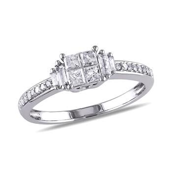 Trang sức Amour 1/2 CT Multi-shape Kim cương TW Nhẫn thời trang Vàng trắng 10K GH I2;I3 chính hãng sale giá rẻ Hà nội TPHCM