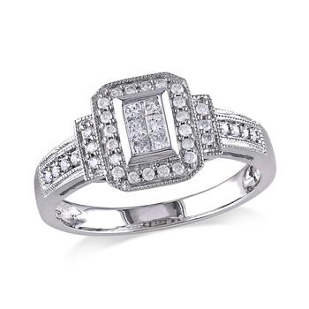 Trang sức Amour 1/3 CT Princess và Round Kim cương TW Nhẫn thời trang Vàng trắng 14K GH I1;I2 chính hãng sale giá rẻ Hà nội TPHCM