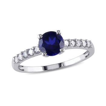 Trang sức Amour 1/4 CT Kim cương TW và 1 CT TGW Created Blue Sapphire Nhẫn thời trang Vàng trắng 10K GH I2;I3 chính hãng sale giá rẻ Hà nội TPHCM