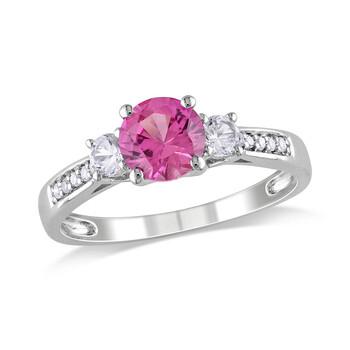Trang sức Amour 0.05 CT Kim cương TW và 1 3/8 CT TGW Created Pink Sapphire Created White Sapphire 3 Stone Nhẫn Vàng trắng 10K GH I2;I3 chính hãng sale giá rẻ Hà nội TPHCM