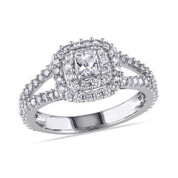 Trang sức Amour 1 CT Princess và Round Kim cương TW Nhẫn thời trang Vàng trắng 14K GH I1;I2 chính hãng sale giá rẻ Hà nội TPHCM
