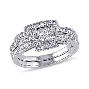 Trang sức Amour 1/3 CT Princess và Round Kim cương TW Bridal Set Nhẫn Vàng trắng 10K Vàng trắng 10K GH I1;I2 chính hãng sale giá rẻ Hà nội TPHCM