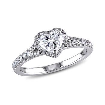 Trang sức Amour 1 CT Heart và Round Kim cương TW Nhẫn trái tim Vàng trắng 14K GH I1;I2 chính hãng sale giá rẻ Hà nội TPHCM