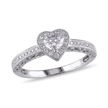 trang sức Amour 1/2 CT Heart và Round Kim cương TW Nhẫn trái tim Vàng trắng 14K GH I1;I2 chính hãng sale giá rẻ tại Hà nội TPHCM