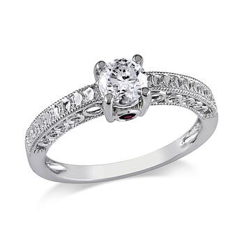 Trang sức Amour 1/2 CT Kim cương TW và 0.06 CT TGW Pink Sapphire Nhẫn đính hôn Vàng trắng 14K GH I2;I3 chính hãng sale giá rẻ Hà nội TPHCM