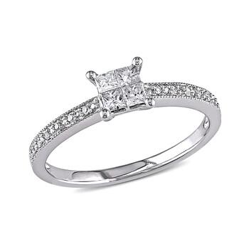 Trang sức Amour 1/3 CT Princess và Round Kim cương TW Nhẫn thời trang Vàng trắng 10K GH I2;I3 chính hãng sale giá rẻ Hà nội TPHCM