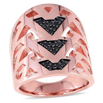 Trang sức Amour Đen Sapphire Vàng hồng 18K-mạ Openwork Nhẫn chính hãng sale giá rẻ Hà nội TPHCM