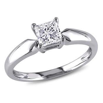 trang sức Amour 14 Karat Vàng trắng Kim cương Solitaire Nhẫn chính hãng sale giá rẻ tại Hà nội TPHCM