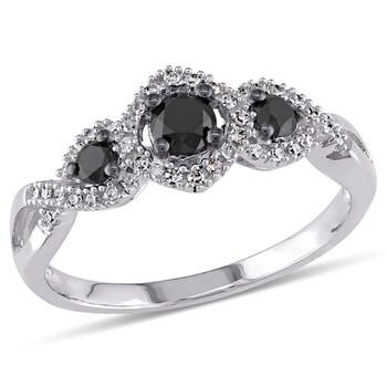 Trang sức Amour Three Stone Vàng trắng 10K Kim cương 1/2 CT Nhẫn đính hôn chính hãng sale giá rẻ Hà nội TPHCM