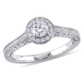 Trang sức Amour 1 CT TW Kim cương Halo Vintage Vàng trắng 14K Nhẫn đính hôn chính hãng sale giá rẻ Hà nội TPHCM