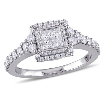Trang sức Amour 1 CT TW Princess Quad & Round Kim cương Halo Vàng trắng 14K Nhẫn đính hôn chính hãng sale giá rẻ Hà nội TPHCM