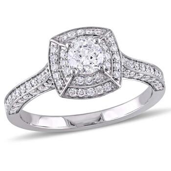 Trang sức Amour 1 CT TW Kim cương Double Halo Vintage Vàng trắng 14K Nhẫn đính hôn chính hãng sale giá rẻ Hà nội TPHCM