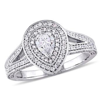Trang sức Amour 1 CT TW Pear & Round Kim cương Vàng trắng 14K Nhẫn đính hôn chính hãng sale giá rẻ Hà nội TPHCM