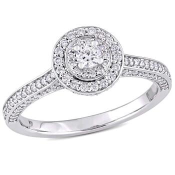 Trang sức Amour 5/8 CT TW Kim cương Raised Double Halo Vàng trắng 14K Nhẫn đính hôn chính hãng sale giá rẻ Hà nội TPHCM