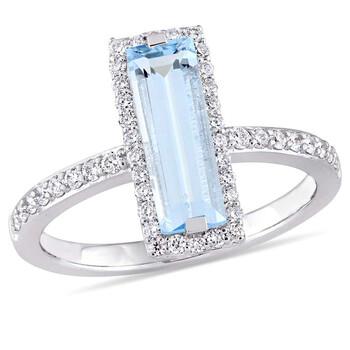 Trang sức Amour 3 CT TGW Baguette Cut Blue Topaz và 1/3 CT TW Kim cương Nhẫn chính hãng sale giá rẻ Hà nội TPHCM