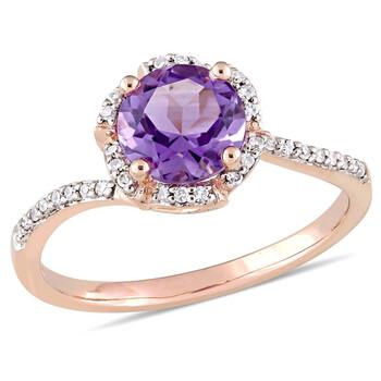 Trang sức Amour Amethyst và 1/10 CT Kim cương Floral Halo Bypass Nhẫn chính hãng sale giá rẻ Hà nội TPHCM