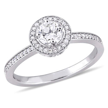 Trang sức Amour 1/2 CT TW Kim cương Halo Vàng trắng 14K Nhẫn đính hôn chính hãng sale giá rẻ Hà nội TPHCM