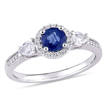 Trang sức Amour Blue Sapphire và Pear Shaped White Sapphire 3 Stone Nhẫn chính hãng sale giá rẻ Hà nội TPHCM
