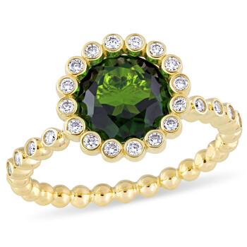 trang sức Amour 1/4 CT Kim cương TW và 2 1/4 CT TGW Chrome Diopside Nhẫn đính hôn Vàng 14K GH SI chính hãng sale giá rẻ tại Hà nội TPHCM