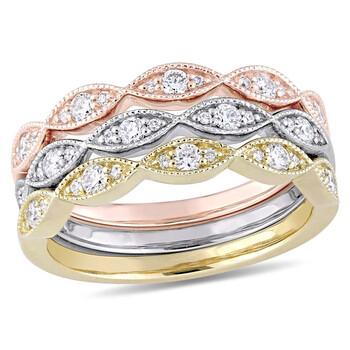 Trang sức Amour 1/2 CT Kim cương TW 14K Tri Color Gold Nhẫn thời trang chính hãng sale giá rẻ Hà nội TPHCM