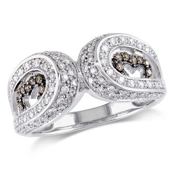Trang sức Amour 1/2 CT TW White và Brown Kim cương Nhẫn Vàng trắng 14K chính hãng sale giảm giá sỉ rẻ nhất ở Hà nội TPHCM