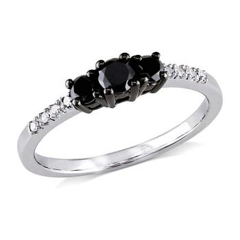 Trang sức Amour 1/2 CT TW Đen & Trắng 3 Stone Kim cương Nhẫn đính hôn Vàng trắng 10K chính hãng sale giá rẻ Hà nội TPHCM
