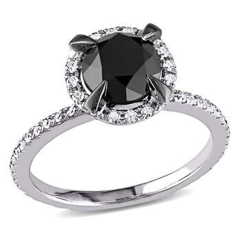 Trang sức Amour 2 CT TW Đen & Trắng Halo Kim cương Nhẫn đính hôn Vàng trắng 10K chính hãng sale giá rẻ Hà nội TPHCM