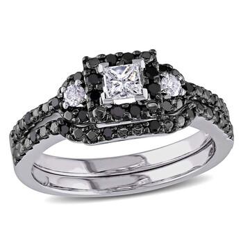 Trang sức Amour Đen & Trắng Halo Kim cương Bridal Set Vàng trắng 10K với Đen Rhodium chính hãng sale giá rẻ Hà nội TPHCM