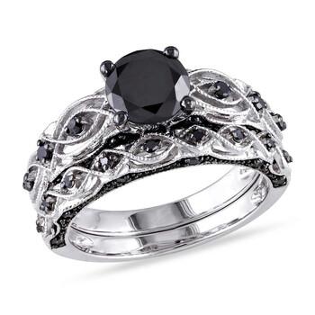 Trang sức Amour 1 3/8 CT TW Kim cương đen Bridal Set Vàng trắng 10K với Đen Rhodium chính hãng sale giá rẻ Hà nội TPHCM