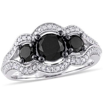 Trang sức Amour Đen & Trắng Kim cương Nhẫn đính hôn Vàng trắng 10K mạ với Đen Rhodium chính hãng sale giá rẻ Hà nội TPHCM