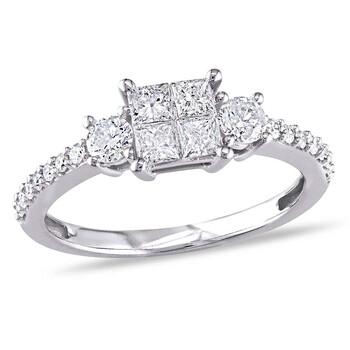 Trang sức Amour 3/4 CT TW Princess-Cut và Round Shaped Kim cương Quad Halo Nhẫn đính hôn Vàng trắng 14K chính hãng sale giá rẻ Hà nội TPHCM