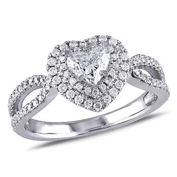 Trang sức Amour 1 CT TW Double Halo Heart Kim cương Nhẫn đính hôn Vàng trắng 14K chính hãng sale giá rẻ Hà nội TPHCM