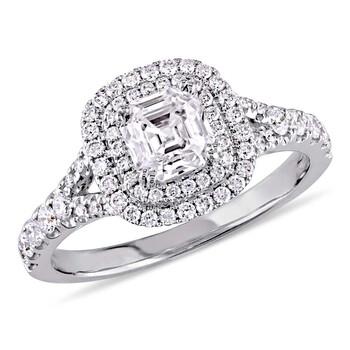 Trang sức Amour 1 1/5 CT TW Asscher Cut Kim cương Double Halo Split Shank Nhẫn đính hôn Vàng trắng 14K chính hãng sale giá rẻ Hà nội TPHCM