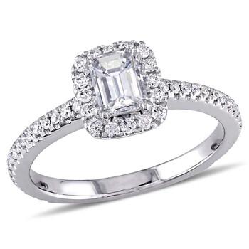 Trang sức Amour 7/8 CT TW Emerald Cut và Round Kim cương Nhẫn đính hôn Vàng trắng 14K chính hãng sale giá rẻ Hà nội TPHCM