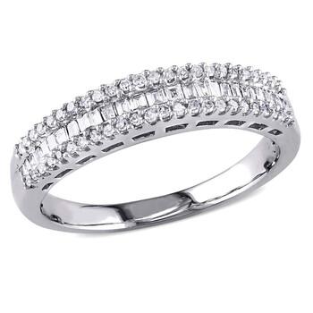 Trang sức Amour 1/3 CT Parallel Baguette và Round Kim cương TW Eternity Nhẫn Vàng trắng 14K GH I2;I3 chính hãng sale giá rẻ Hà nội TPHCM