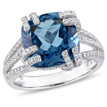Trang sức Amour 3/4 CT Kim cương TW và 7 1/3 CT TGW Blue Topaz - London Nhẫn thời trang Vàng trắng 14K GH SI chính hãng sale giá rẻ Hà nội TPHCM