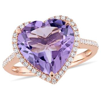 Trang sức Amour 1/3 CT Kim cương TW và 5 1/3 CT TGW Amethyst Nhẫn thời trang Vàng hồng 14K GH SI chính hãng sale giá rẻ Hà nội TPHCM