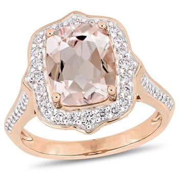 Trang sức Amour 5/8 CT Kim cương TW và 2 5/8 CT TGW Morganite - CN Nhẫn thời trang Vàng hồng 14K GH SI chính hãng sale giá rẻ Hà nội TPHCM