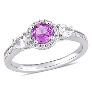 trang sức Amour Pink & White Sapphire 3-Stone Nhẫn đính hôn với Kim cương Halo Vàng trắng 14K chính hãng sale giá rẻ tại Hà nội TPHCM