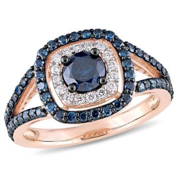 Trang sức Amour 1 1/3 CT TW Blue và Kim cương trắng Double Halo Nhẫn đính hôn Vàng hồng 10K với Đen Rhodium JMS004918 chính hãng sale giá rẻ Hà nội TPHCM