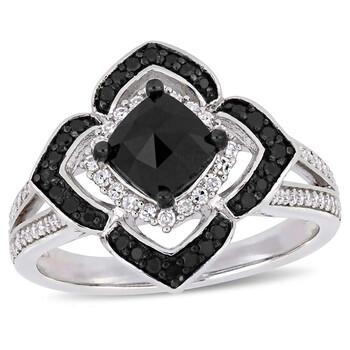 Trang sức Amour 1 2/5 CT TW Đen và Kim cương trắng Halo Nhẫn Bạc 925 với Đen Rhodium mạ JMS004949 chính hãng sale giá rẻ Hà nội TPHCM