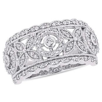 Trang sức Amour 1/2 CT TW Kim cương Wide Studded Floral Infinity Vàng trắng 10K JMS004957 chính hãng sale giá rẻ Hà nội TPHCM