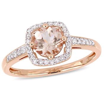 Trang sức Amour 4/5 CT TGW Morganite và 1/7 CT TW Kim cương Halo Nhẫn Vàng hồng 10K JMS004968 chính hãng sale giá rẻ Hà nội TPHCM